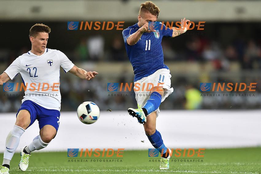 Jukka Raitala Finland, Ciro Immobile Italia <br /> Verona 06-06-2016 Stadio Bentegodi Football Friendly Match Italia - Finlandia / Italy - Finland . Foto Andrea Staccioli / Insidefoto
