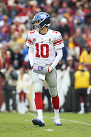Landover, MD - December 9, 2018: New York Giants quarterback Eli Manning (10) in action during the  game between New York Giants and Washington Redskins at FedEx Field in Landover, MD.   (Photo by Elliott Brown/Media Images International)