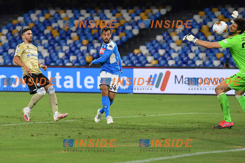 Amin Younes of SSC Napoli scores the goal of 3-1 during the Serie A football match between SSC Napoli and SPAL at stadio San Paolo in Naples ( Italy ), June 28th, 2020. Play resumes behind closed doors following the outbreak of the coronavirus disease. <br /> Photo Carmelo Imbesi / Insidefoto