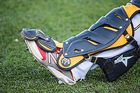 Catchers gear as the Salt Lake Bees prepared to play the Sacramento River Cats in Pacific Coast League action at Smith's Ballpark on April 20, 2015 in Salt Lake City, Utah.  (Stephen Smith/Four Seam Images)