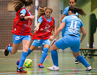 20190915– HALLE , BELGIUM : FP Halle-Gooik Girls player S Rouschop (in Red) is  pictured during the Belgian Women's Futsal D1 match between FP Halle-Gooik A and FP Halle-Gooik B on Sunday 15th 2019 at the De Bres Sport Complex in Halle, Belgium. PHOTO SPORTPIX.BE | Sevil Oktem