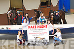 RACE NIGHT: Pictured at Tommy Cooper's Stables, Farmers Bridge, on Good Friday at the announcement of a race night which will be held in the Tankard Bar & Restaurant, Kilfenora, to raise funds for Fenit Rowing Club, were Jane Doyle, Iona O'Neill, Katie Doyle, Hannah Stack, Mona and Joe O'Halloran with Brendan Walsh, Joe Holly and Tommy McKeown at back.