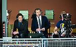 Stockholm 2014-12-03 Handboll Elitserien Hammarby IF - IFK Sk&ouml;vde :  <br /> TV4 expert Tomas Axner och kommentator Daniel Kristiansson ser matchen mellan Hammarby IF och IFK Sk&ouml;vde fr&aring;n pressl&auml;ktaren i Eriksdalshallen<br /> (Foto: Kenta J&ouml;nsson) Nyckelord:  Eriksdalshallen Hammarby HIF Bajen IFK Lugi portr&auml;tt portrait TV TV-studio studio