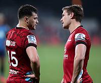 11th July 2020; Christchurch, New Zealand;  David Havili  and George Bridge chat tactics. Crusaders versus Blues in the Super Rugby Aotearoa. Orangetheory Stadium, Christchurch,