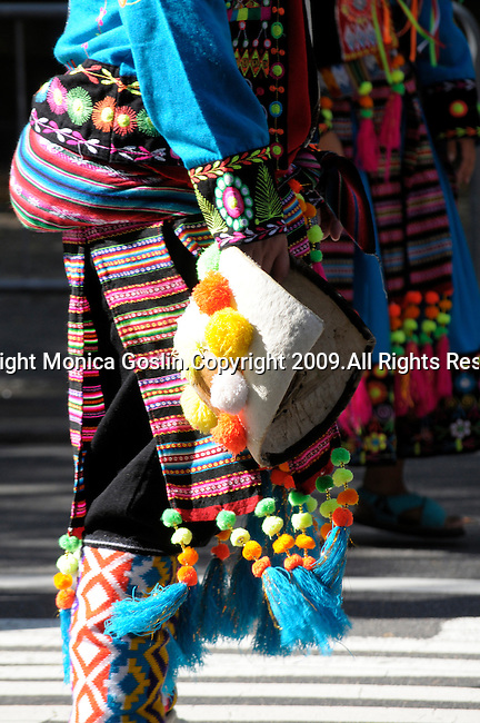 The Hispanic Parade in New York City. A detail of a man wearing traditional clothes and representing Bolivia in the Hispanic Parade in New York City.