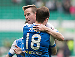 Celtic v St Johnstone &hellip;26.08.17&hellip; Celtic Park&hellip; SPFL<br />Steven MacLean gets a well done from Paul Paton at full time<br />Picture by Graeme Hart.<br />Copyright Perthshire Picture Agency<br />Tel: 01738 623350  Mobile: 07990 594431