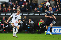 Sam Surridge of Swansea City hits the cross bar with a long range shot during the Sky Bet Championship match between Swansea City and Barnsley at the Liberty Stadium in Swansea, Wales, UK. Sunday 29 December 2019