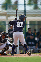 GCL Yankees 2 outfielder Andy Diaz (81) at bat during the first game of a doubleheader against the GCL Pirates on July 31, 2015 at the Pirate City in Bradenton, Florida.  GCL Pirates defeated the GCL Yankees 2 2-1.  (Mike Janes/Four Seam Images)