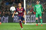 UEFA Champions League 2013/2014.<br /> Quarter-finals 1st leg.<br /> FC Barcelona vs Club Atletico de Madrid: 1-1.<br /> Alexis Sanchez &amp; Thibaut Courtois.