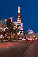 Las Vegas Strip Hotels, Paris, Ballys at night; Nevada; Resort properties; Strip; gambling; shopping, Hospitality, No People, Travel, Destination, View,