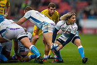 24th November 2019; AJ Bell Stadium, Salford, Lancashire, England; European Champions Cup Rugby, Sale Sharks versus La Rochelle; Faf de Klerk of Sale Sharks clears the ball - Editorial Use