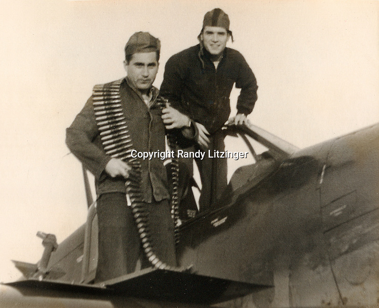 Adam 'Danny' Moyer, and John 'Jack' Fogarty by a SB2C-4 Helldiver - 1944 or 1945<br /> <br /> Photo By Wade Litzinger