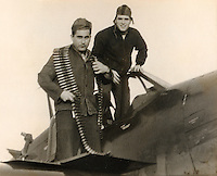 Adam 'Danny' Moyer, and John 'Jack' Fogarty by a SB2C-4 Helldiver - 1944 or 1945<br />