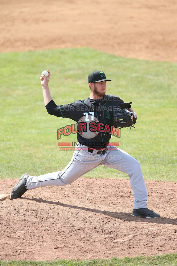 Tanner Griggs (27) of the Eugene Emeralds pitches during a game against the Vancouver Canadians at Nat Bailey Stadium on July 22, 2015 in Vancouver, British Columbia. Vancouver defeated Eugene, 4-2. (Larry Goren/Four Seam Images)