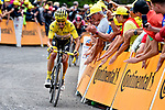 Yellow Jersey Julian Alaphilippe (FRA) Deceuninck-Quick Step battles his way up La Planche des Belles Filles at the end of Stage 6 of the 2019 Tour de France running 160.5km from Mulhouse to La Planche des Belles Filles, France. 11th July 2019.<br /> Picture: Serge Waldbillig | Cyclefile<br /> All photos usage must carry mandatory copyright credit (© Cyclefile | Serge Waldbillig)