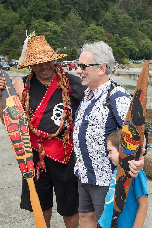 Canoe Journey, Paddle to Nisqually, 2016, Northwest tribal canoes landing, Port Townsend, Fort Worden, Olympic Peninsula, Puget Sound, Salish Sea, Washington State, USA,
