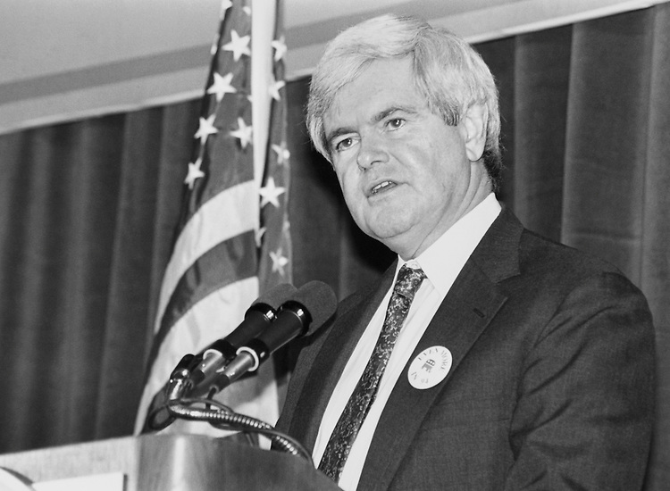 "Speaker of the House Rep. Newton Leroy ""Newt"" Gingrich, R-Ga., giving a speech. 1994 (Photo by Maureen Keating/CQ Roll Call)"