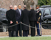 United States President Barack Obama and Vice President Joe Biden traveled to Arlington National Cemetery in Arlington, Virginia on March 15, 2011 to pay their respects to Frank Buckles who recently died at the age of 110 and was the last surviving World War I veteran..Credit: Gary Fabiano / Pool via CNP