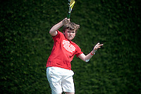Joshua James Thomas during a training session with Dan Bloxham as part of the Junior Tennis initiative at Wimbledon, The All England Lawn Tennis Club (AELTC), London....