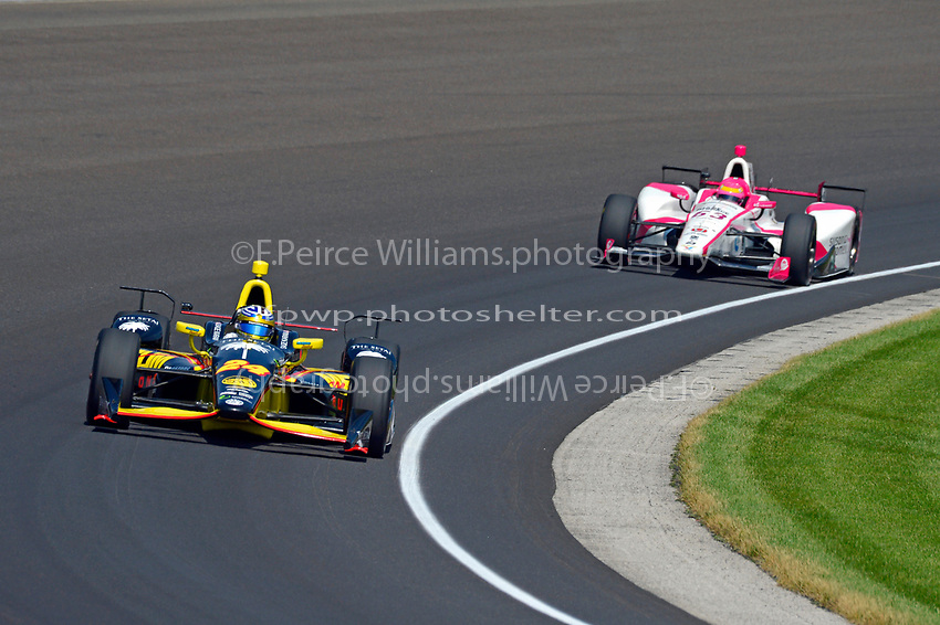 Verizon IndyCar Series<br /> Indianapolis 500 Carb Day<br /> Indianapolis Motor Speedway, Indianapolis, IN USA<br /> Friday 26 May 2017<br /> Sage Karam, Dreyer &amp; Reinbold Racing Chevrolet, Pippa Mann, Dale Coyne Racing Honda<br /> World Copyright: F. Peirce Williams