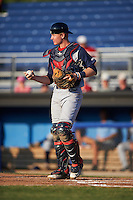 Brooklyn Cyclones catcher Dan Rizzie (33) during a game against the Batavia Muckdogs on July 5, 2016 at Dwyer Stadium in Batavia, New York.  Brooklyn defeated Batavia 5-1.  (Mike Janes/Four Seam Images)