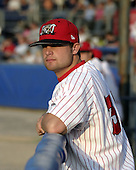 June 30, 2004:  Pitcher Andy Baldwin of the Batavia Muckdogs, Short-Season Single-A affiliate of the Philadelphia Phillies, during a game at Dwyer Stadium in Batavia, NY.  Photo by:  Mike Janes/Four Seam Images