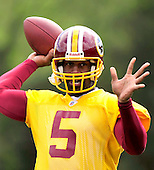 Ashburn, VA - April 18, 2010 -- Washington Redskin quarterback Donovan McNabb (5) participates in a passing drill at the first 2010 mini-camp at Redskins Park in Ashburn Virginia on Sunday, April 18, 2010..Credit: Ron Sachs / CNP