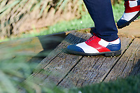 Andy Sullivan's (ENG) color coordinated shoes as he departs the 10th tee during round 2 of the Shell Houston Open, Golf Club of Houston, Houston, Texas, USA. 3/31/2017.<br /> Picture: Golffile | Ken Murray<br /> <br /> <br /> All photo usage must carry mandatory copyright credit (&copy; Golffile | Ken Murray)