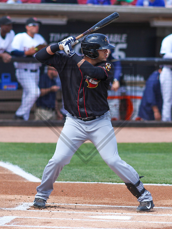 APPLETON - May 2015: Quad Cities River Bandits catcher Alfredo Gonzalez (8) during a game against the Wisconsin Timber Rattlers on May 2nd, 2015 at Fox Cities Stadium in Appleton, Wisconsin.  Quad Cities defeated Wisconsin 5-2.  (Brad Krause/Four Seam Images)