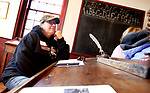 SOUTHBURY CT. 16 March 2018-031919SV03-Barbara Granton of Southbury learns how to be a docent during a workshop at the historic Bullet Hill School house in Southbury Tuesday.<br /> Steven Valenti Republican-American