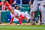 15 April 2018: Washington Nationals shortstop Trea Turner scores in the 5th inning against the Colorado Rockies at Nationals Park in Washington, DC. All MLB players wore Number 42 to commemorate the life of Jackie Robinson and to celebrate Black Heritage Day in pro baseball. The Rockies edged out the Nationals 6-5 to take the final game of their 4-game series. Mandatory Credit: Ed Wolfstein Photo *** RAW (NEF) Image File Available ***