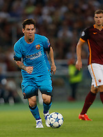 Barcellona's Lionel Messi  during the Champions League Group E soccer match against AS Roma   at the Olympic Stadium in Rome September 16, 2015