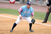 May 3, 2009:  First baseman Lucas Brown of the Binghamton Mets, Eastern League Class-AA affiliate of the New York Mets, during a game at the NYSEG Stadium in Binghamton, NY.  The Mets wore special blue and pink jerseys that were auctioned off after the game to benefit breast and prostate cancer.  Photo by:  Mike Janes/Four Seam Images