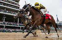 LOUISVILLE, KY - MAY 05: Brenner Island #1 ridden by Javier Castellano defeats Union Strike #2 with Brice Blanc to win the Eight Belles Stakes at Churchill Downs on May 5, 2017 in Louisville, Kentucky. (Photo by Alex Evers/Eclipse Sportswire/Getty Images)