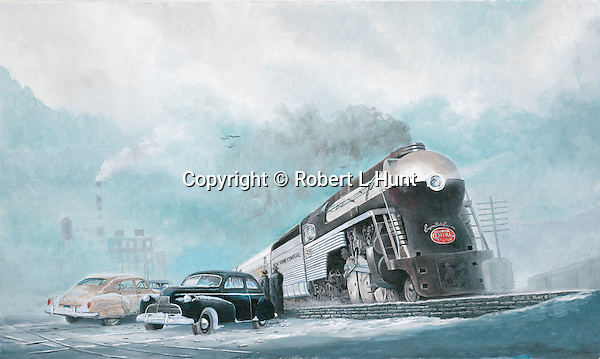 "The Empire State Express, famous passenger train of the New York Central Railroad in winter snow, circa late 1940's. Oil on canvas, 15"" x 25'."