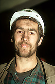 Slovakia. Miner wearing a white hard hat.