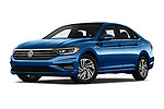 Stock pictures of low aggressive front three quarter view of a 2019 Volkswagen Jetta SEL Premium 4 Door Sedan