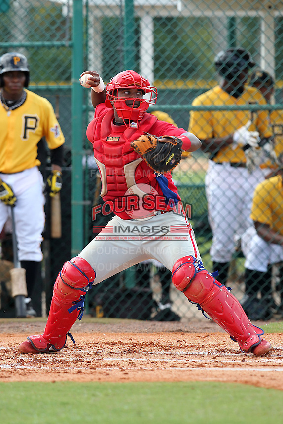Philadelphia Phillies catcher Chabriel Pizzaro #38 during an Instructional League game against the Pittsburgh Pirates at Pirate City on October 11, 2011 in Bradenton, Florida.  (Mike Janes/Four Seam Images)
