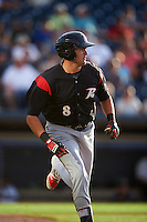 Richmond Flying Squirrels first baseman Ryder Jones (8) runs to first base during a game against the Akron RubberDucks on July 26, 2016 at Canal Park in Akron, Ohio .  Richmond defeated Akron 10-4.  (Mike Janes/Four Seam Images)