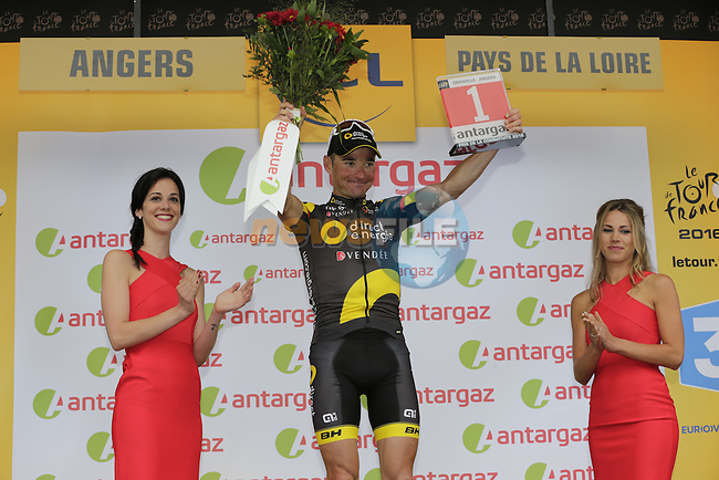 Thomas Voeckler (FRA) Direct Energie wins the day's combativity award at the end of Stage 3 of the 2016 Tour de France, running 223.5km from Granville to Angers, France . 4th July 2016.<br /> Picture: Eoin Clarke | Newsfile<br /> <br /> <br /> All photos usage must carry mandatory copyright credit (&copy; Newsfile | Eoin Clarke)