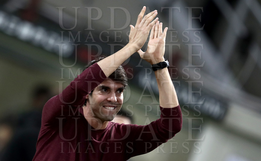 Calcio, Serie A: AC Milan - AS Roma, Milano stadio Giuseppe Meazza (San Siro) 31 agosto 2018.  <br /> Former AC Milan player Kaka greets fans prior to the start of the Italian Serie A football match between Milan and Roma at Giuseppe Meazza stadium, August 31, 2018. <br /> UPDATE IMAGES PRESS/Isabella Bonotto