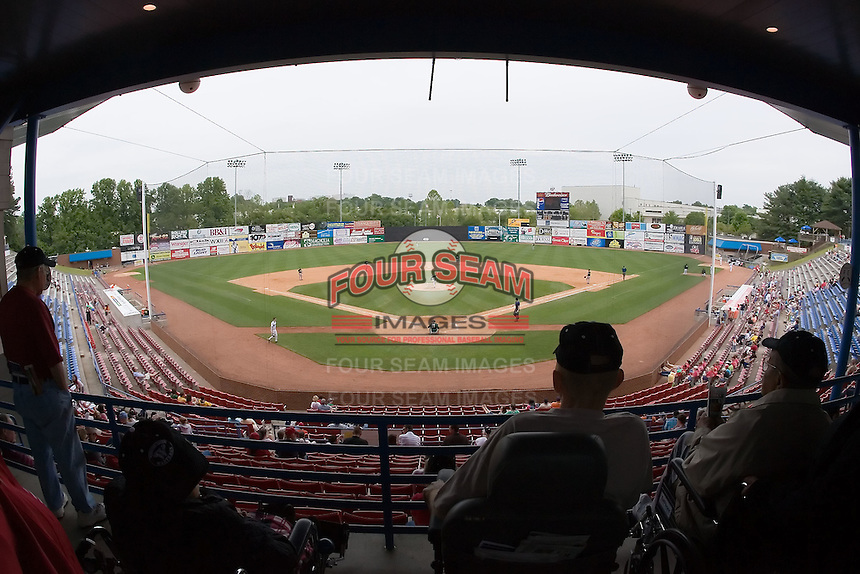 A view of Ernie Shore Field from the concourse behind home plate in Winston-Salem, NC, Wednesday May 14, 2008.