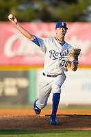 Relief pitcher Anthony Lohden #30 of the Burlington Royals in action against the Kernersville Bulldogs in an exhibition game at Burlington Athletic Stadium June20, 2010, in Burlington, North Carolina.  Photo by Brian Westerholt / Four Seam Images