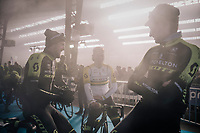 Luke Durbridge (AUS/Michelton-Scott), Alexander Edmondson (AUS/Michelton-Scott) &amp; Lucas Hamilton (AUS/Mitchelton-Scott)  waiting (in the podium smoke) for the pre-race team presentation in the legendary Kuipke Velodrome<br /> <br /> <br /> Omloop Het Nieuwsblad 2018<br /> Gent &rsaquo; Meerbeke: 196km (BELGIUM)