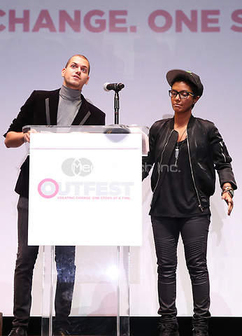 """LOS ANGELES, CA- Assaad Yacoub, Fawzia Mirza, At 2017 Outfest Los Angeles LGBT Film Festival - Closing Night Gala Screening Of """"Freak Show"""" at The Theatre at Ace Hotel, California on July 16, 2017. Credit: Faye Sadou/MediaPunch"""