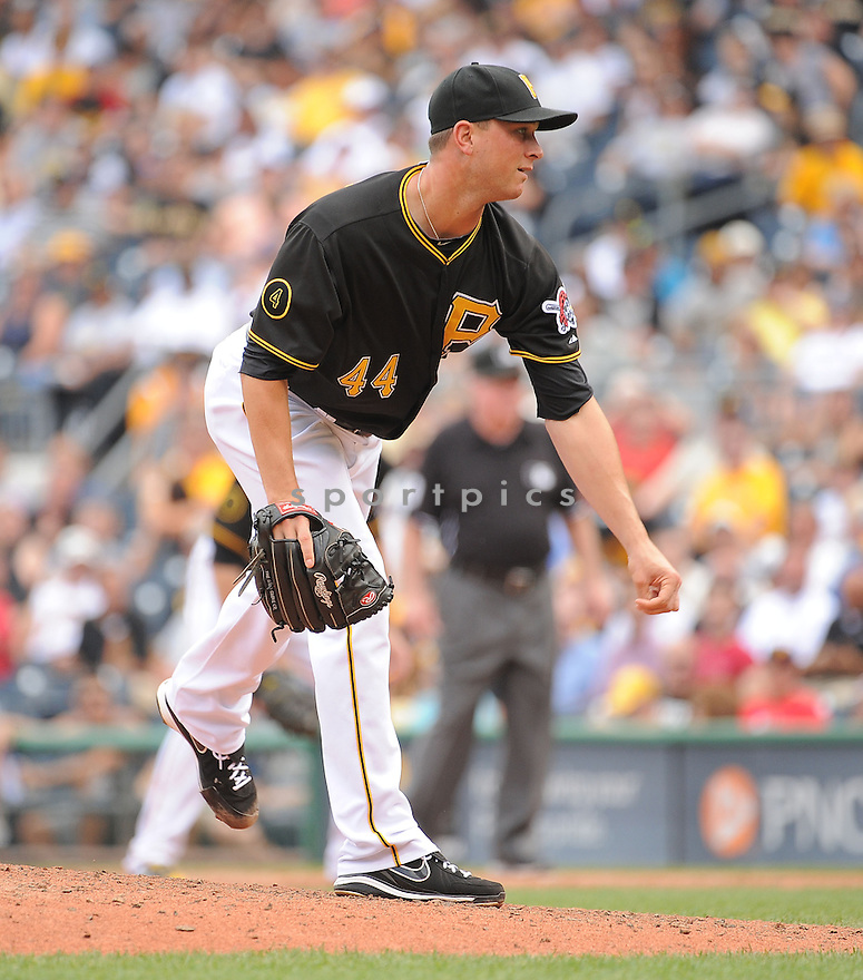 Pittsburgh Pirates Tony Watson (44) during a game against the St. Louis Cardinals on August 27, 2014 at PNC Park in Pittsburgh PA. The Pirates beat the Cardinals 3-1.
