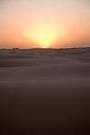 Sunrise, Camel trekking through the sand dunes of Merzouga, Morocco