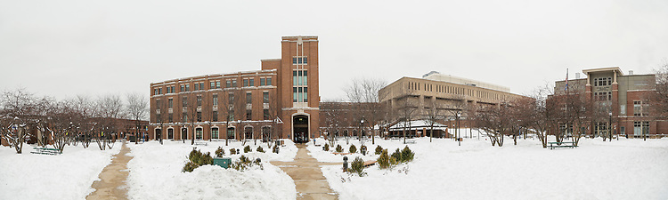 Snow covers The Quad in front of the Richard Library on the Lincoln Park Campus Tuesday, Feb. 3, 2015, following a weekend blizzard that brought double digit snow totals to the city of Chicago. (Photo by Jamie Moncrief)