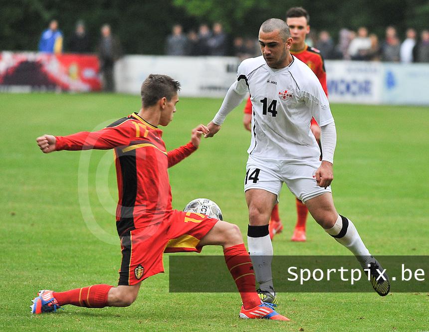 Georgia U19 - Belgium U19 : Leandro Trossard (17) and Giorgi Pantsulaia (14)<br /> foto DAVID CATRY / Nikonpro.be