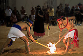 Mexican indigenous participants demonstrate one of their traditional games, a kind of hockey played with a ball of fire, at the International Indigenous Games, in the city of Palmas, Tocantins State, Brazil. Photo © Sue Cunningham, pictures@scphotographic.com 31st October 2015